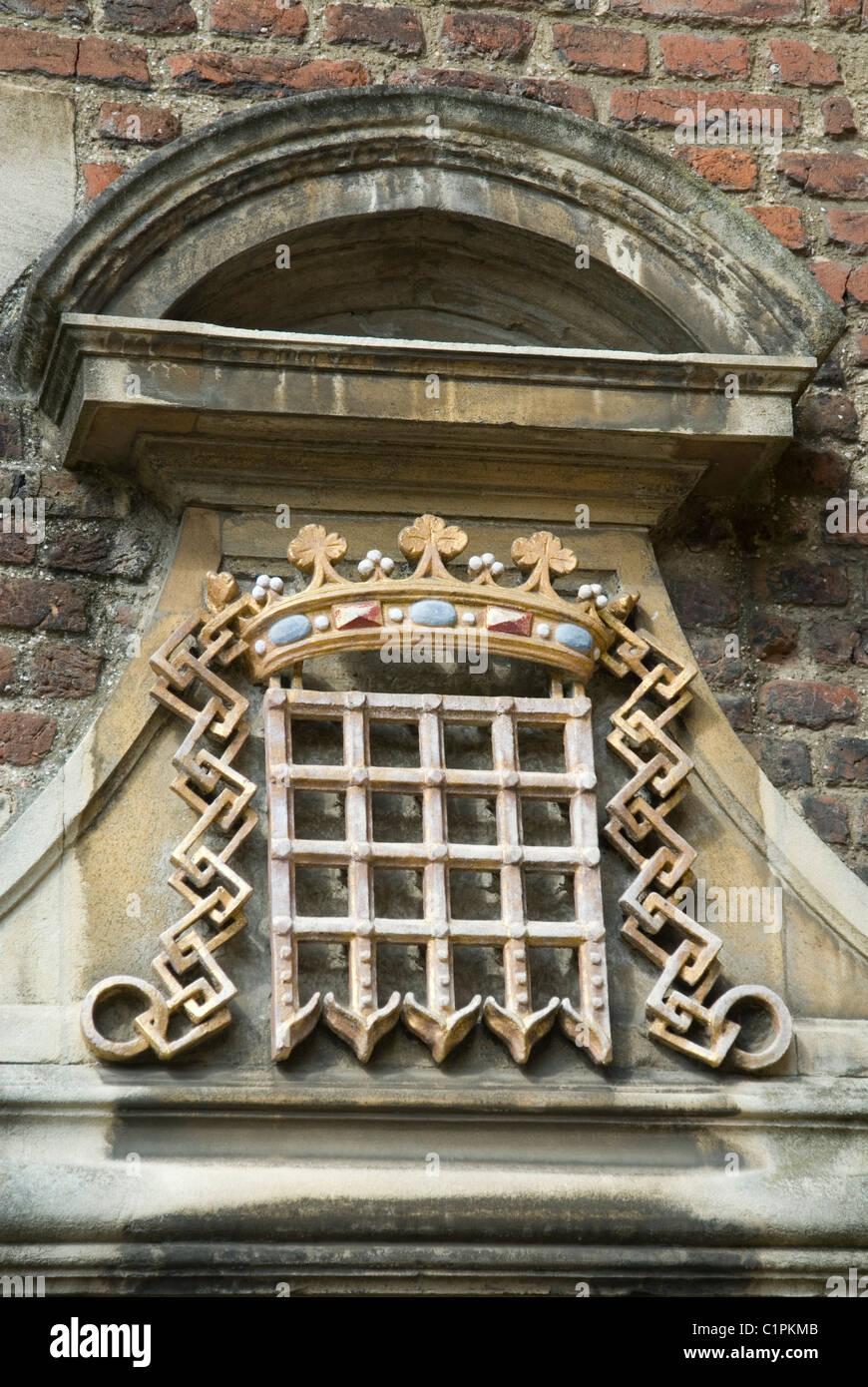 England, Cambridge, Portico carving - Stock Image