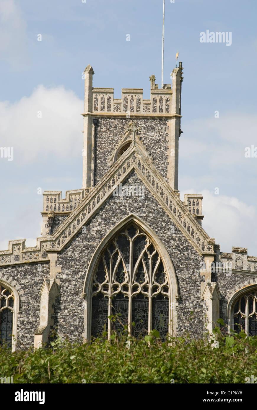 England, Suffolk, Stratford, St. Mary Church, flint faced facade - Stock Image