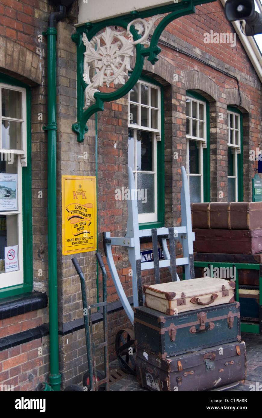 England, Norfolk, Sheringham, Luggage at railway station - Stock Image