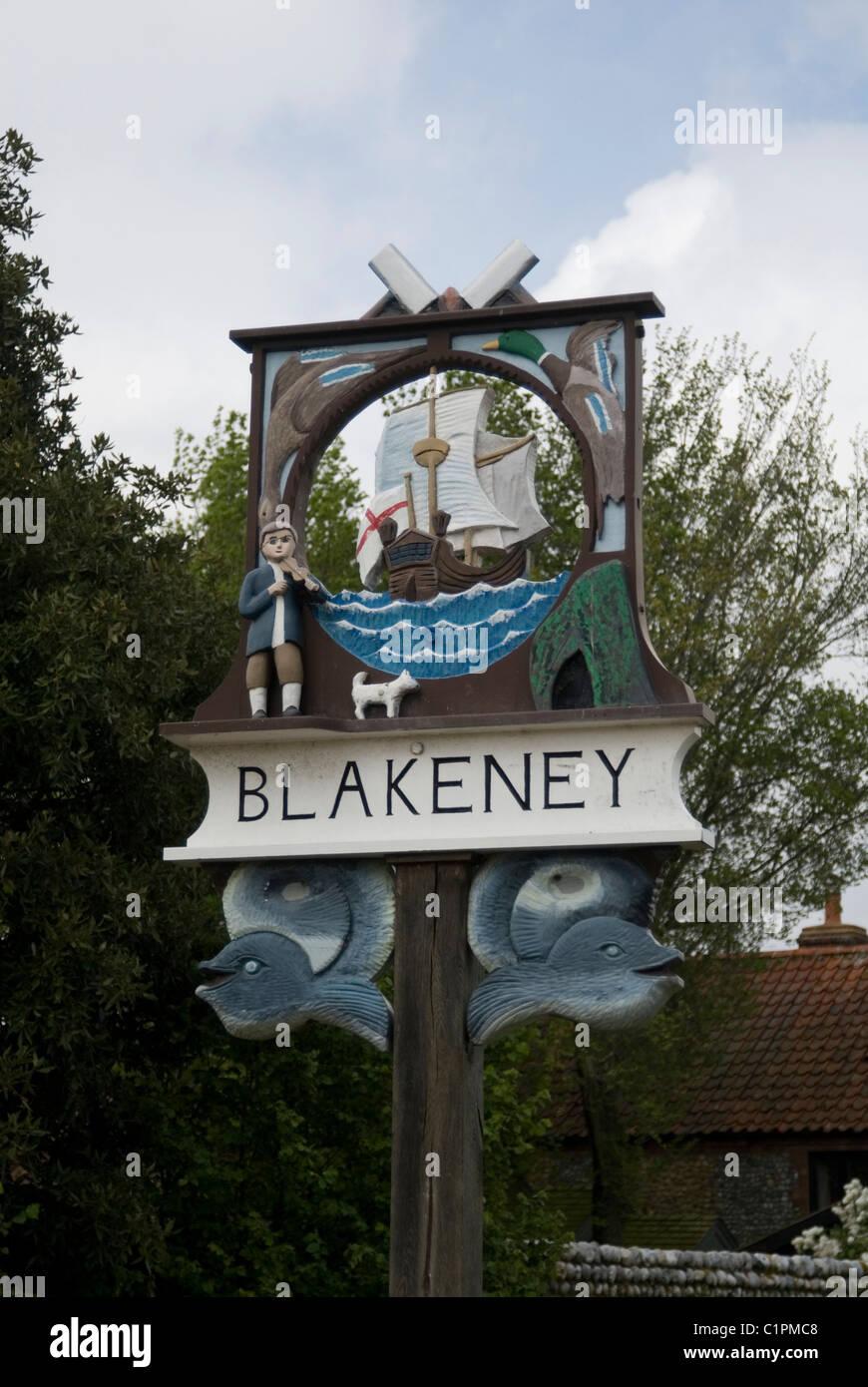 England, Norfolk, Blakeney, village sign - Stock Image