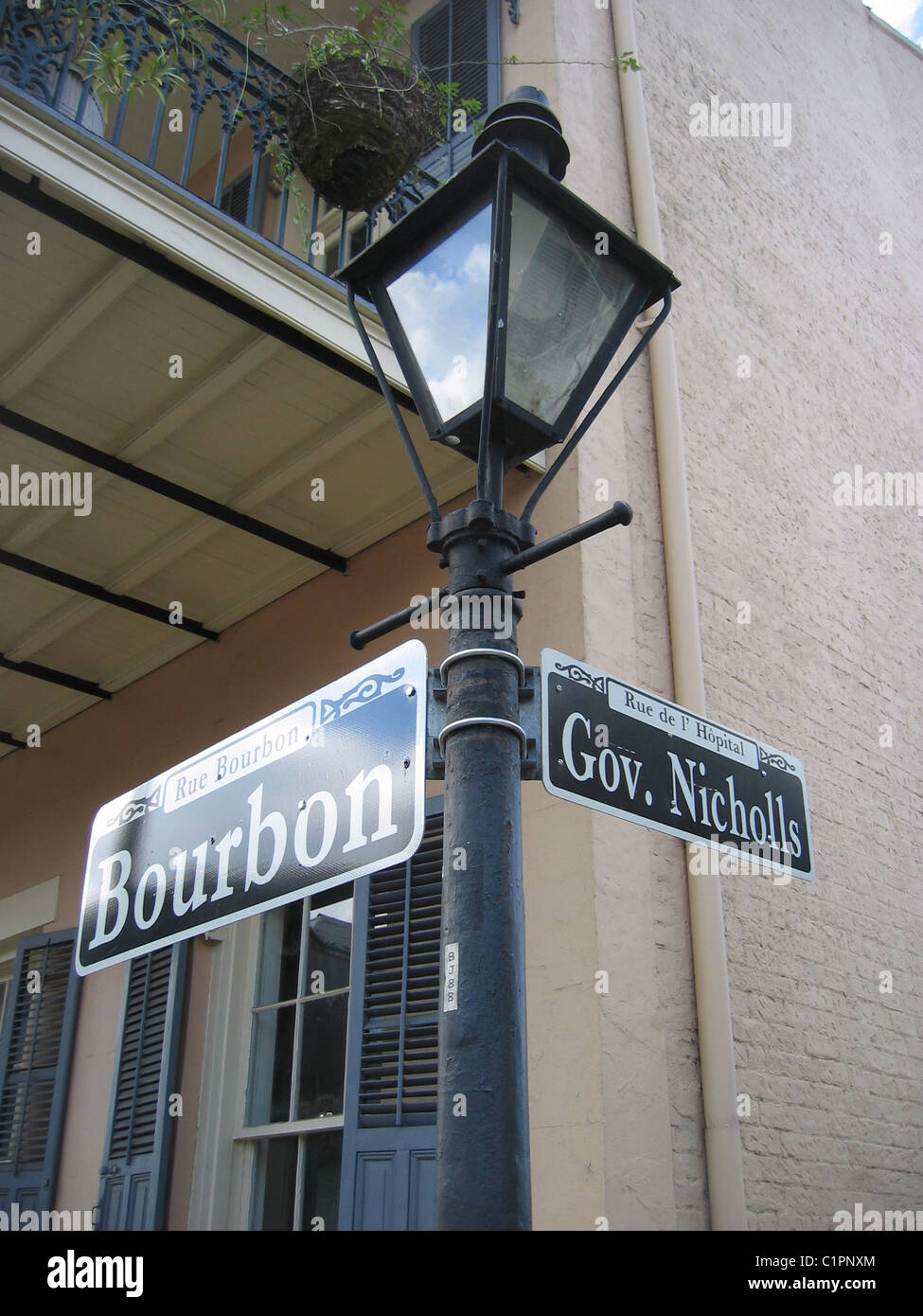 Street Signs On Old Lamp Post At New Orleans Usa Bourbon Street Is