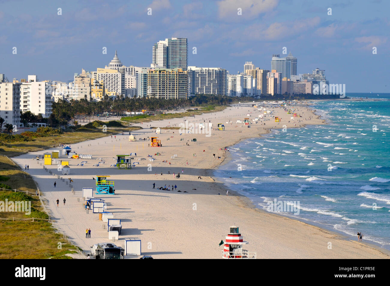 Views of Miami Beach Florida from cruise ship departing harbor - Stock Image
