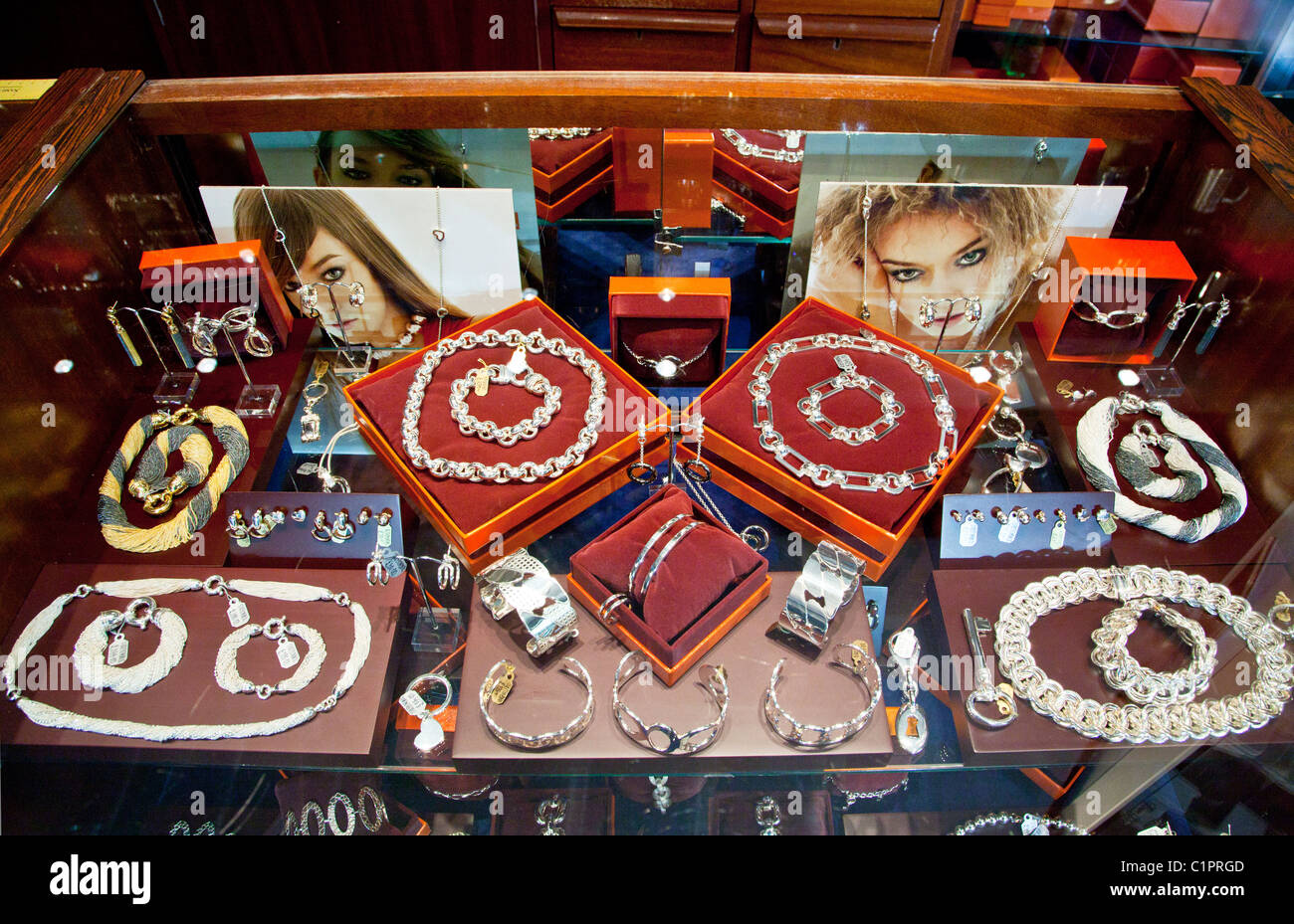 Counter display of jewellery in a jeweller's shop in the provincial English town of Warminster in Wiltshire, - Stock Image