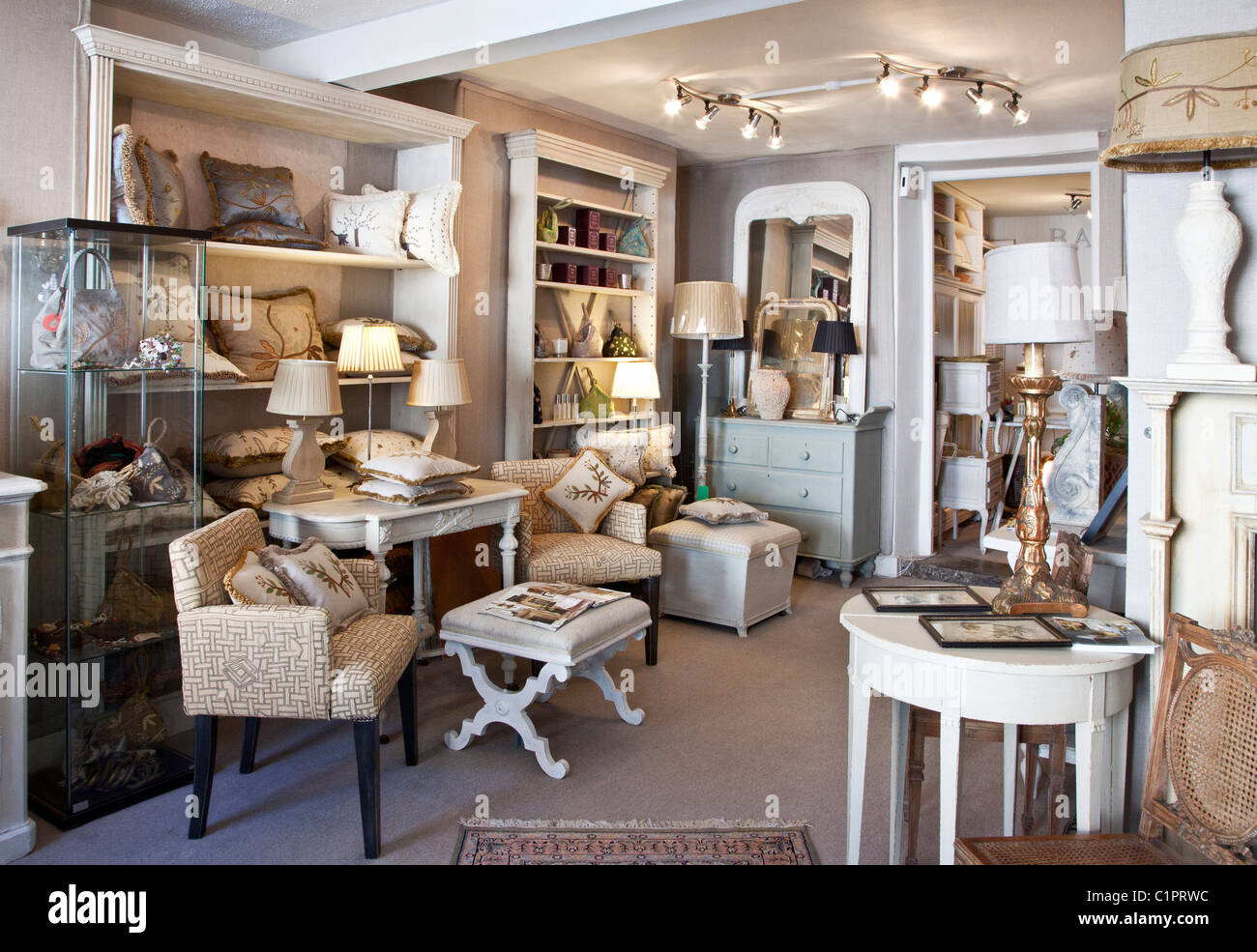 Inside an interior design shop in the provincial English town of Warminster in Wiltshire, England, UK - Stock Image