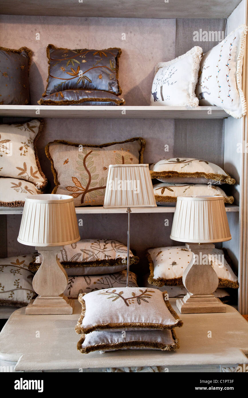 Detail of the inside an interior design shop in the provincial English town of Warminster in Wiltshire, England, - Stock Image