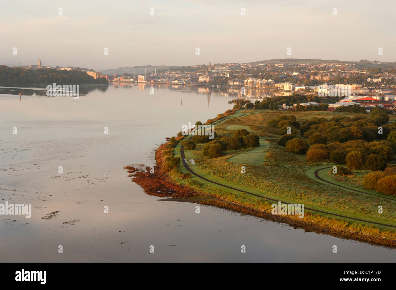 Northern Ireland, Causeway Coast, Derry City from Foyle Bridge. - Stock Image