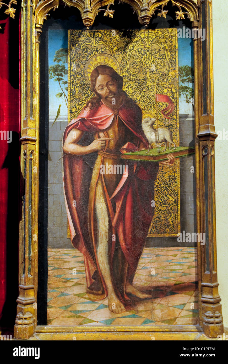 Detail: Saint John the Baptist on wood, part of alterpiece, Virgin and Child with the Pietà and Saints, Spanish, Stock Photo