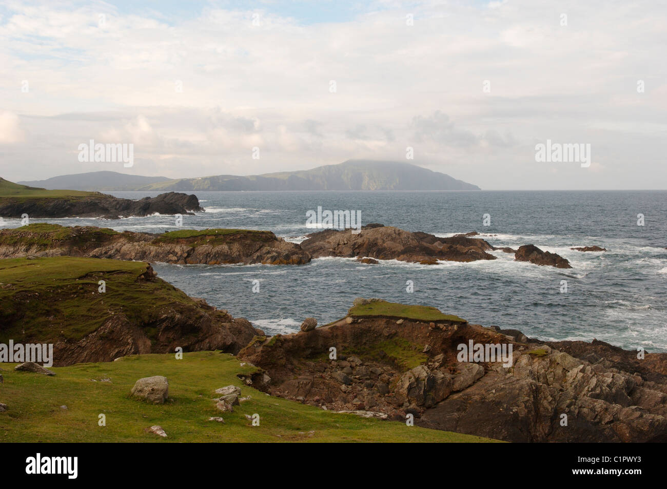 Republic of Ireland, County Mayo, view of Clare island from Achill Island - Stock Image