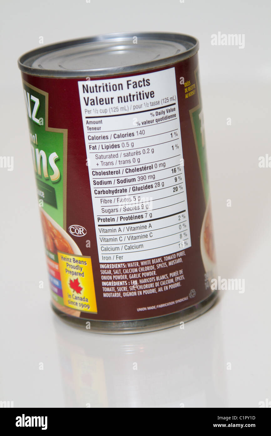 Nutrition Label Can Baked Beans Stock Photo Alamy