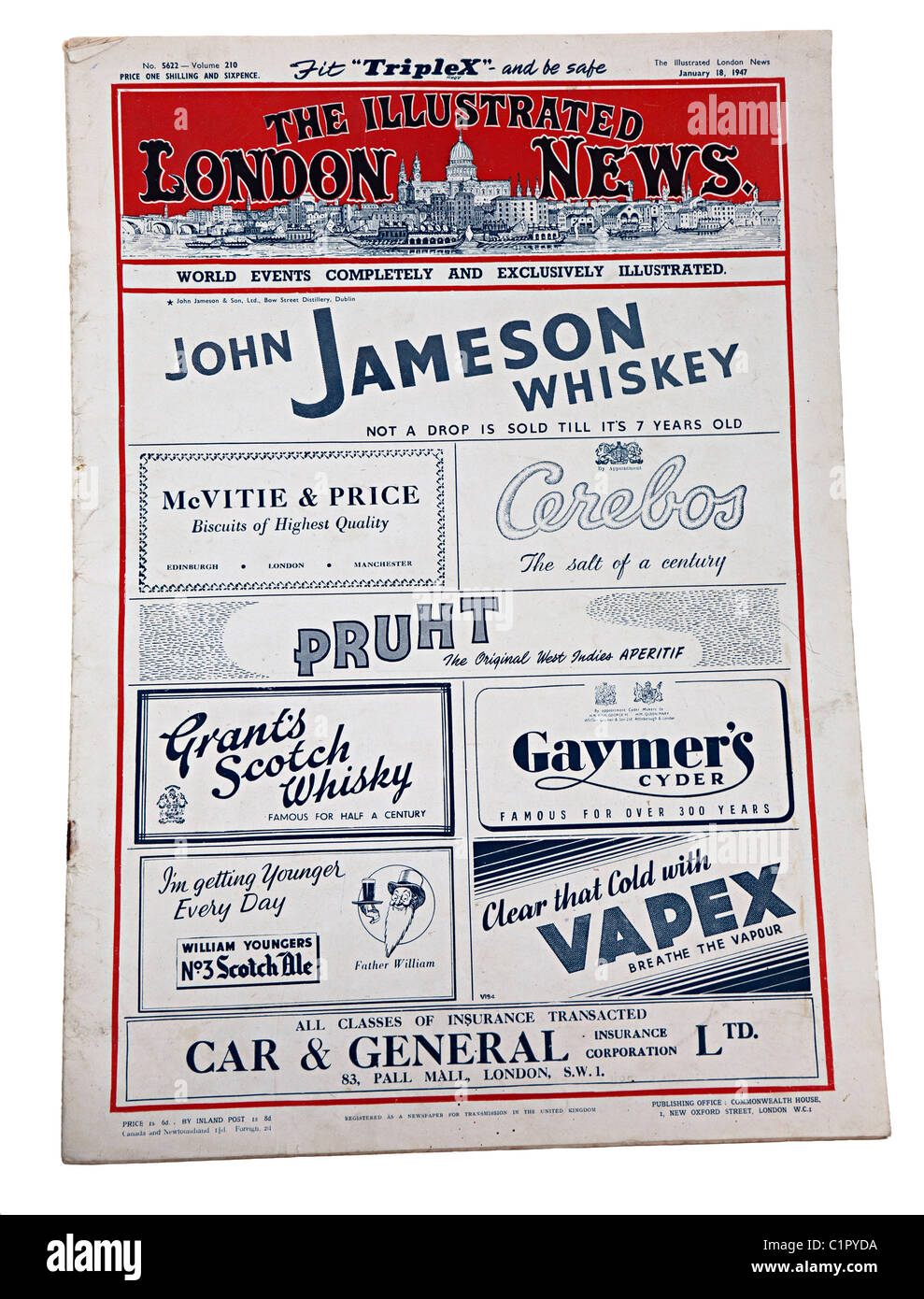 The Illustrated London News for 18 January 1947 with advertising front page for whiskey biscuits salt and insurance Stock Photo