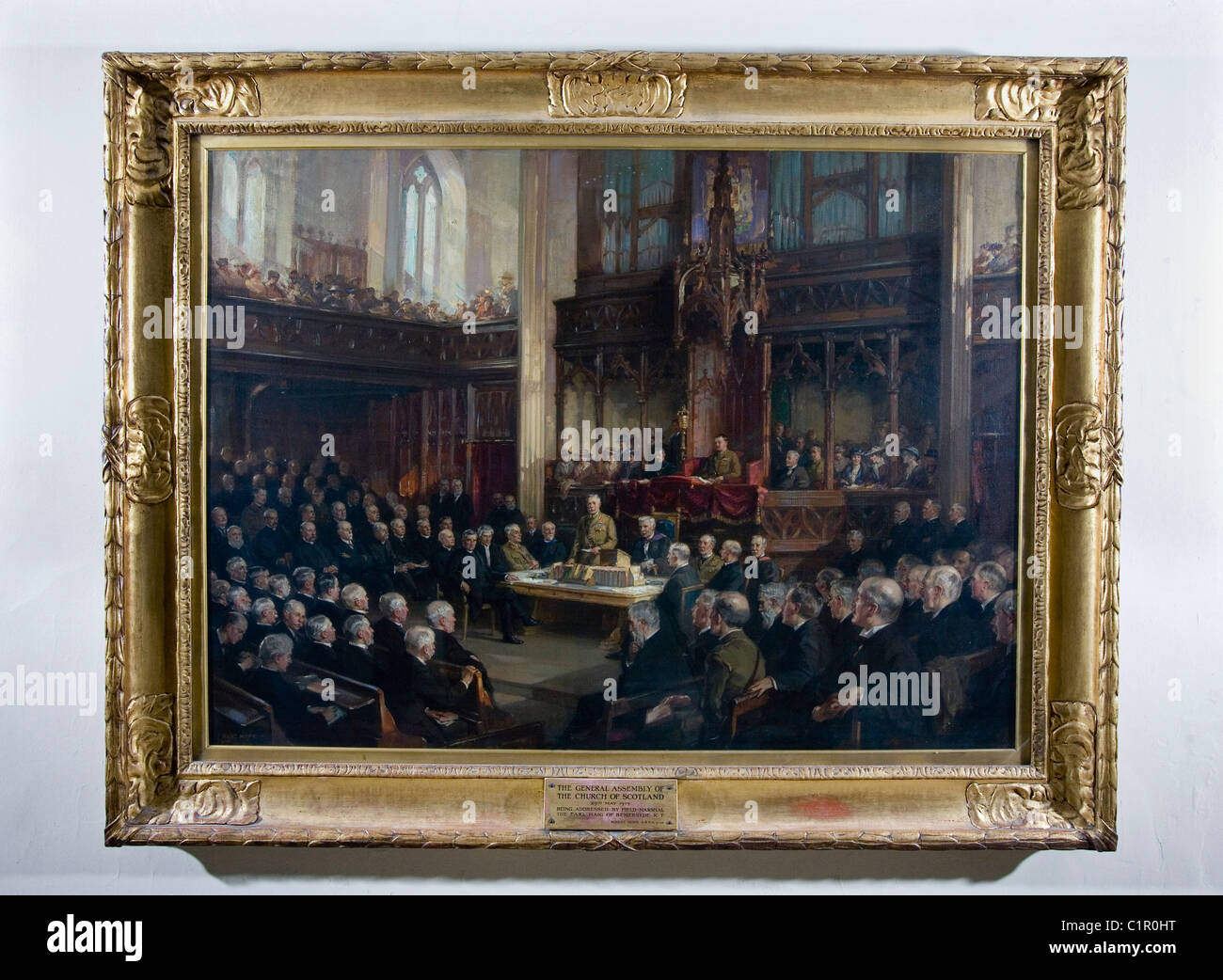 A painting depicting The General Assembly of the Church of Scotland being addressed by Field Marshal The Earl Haig - Stock Image