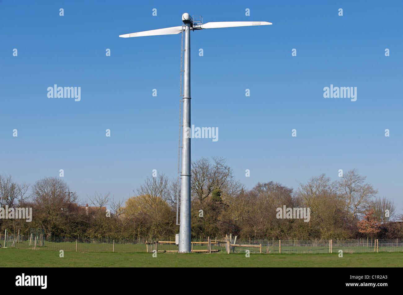 Gaia wind turbine on a farm in Suffolk, UK. - Stock Image