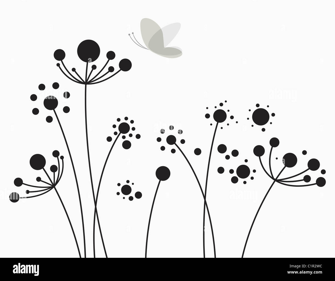 insects and plants illustration - Stock Image