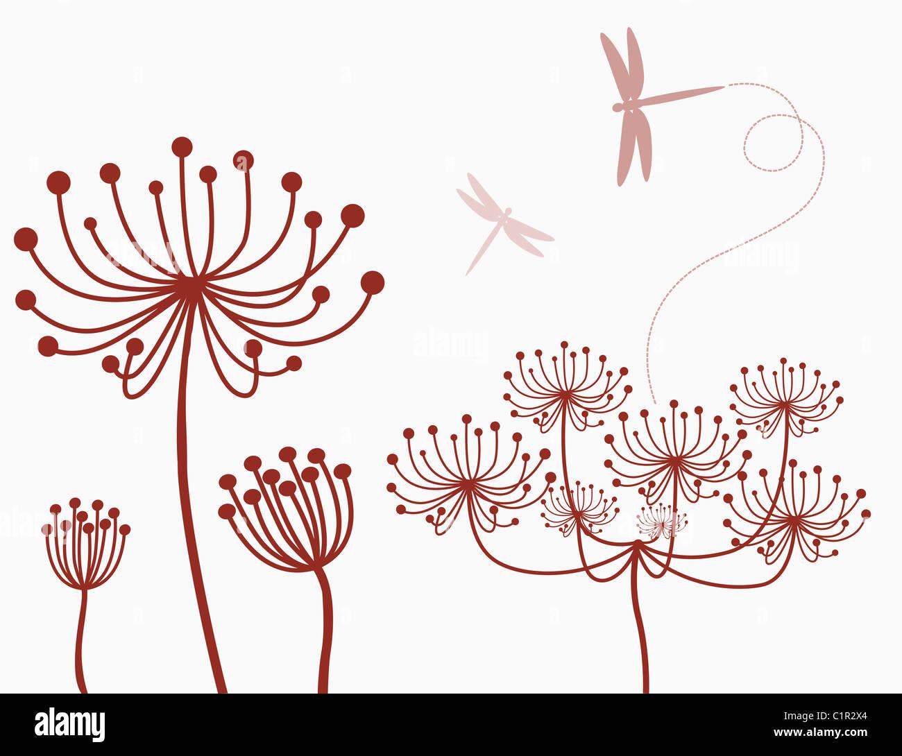 dragonflies illustration - Stock Image