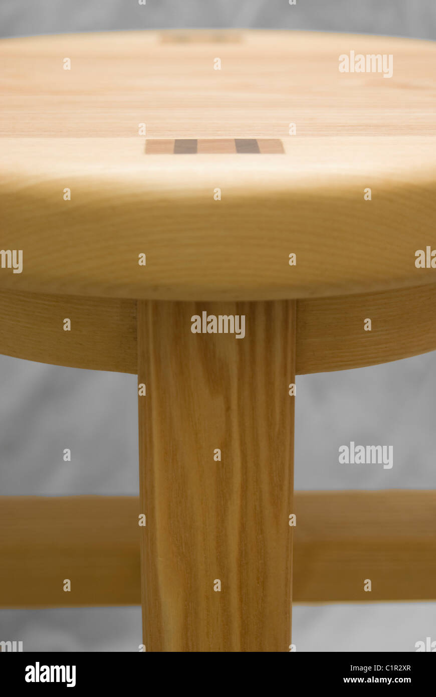 close up of a wooden stool, wood structure craftsmanship - Stock Image