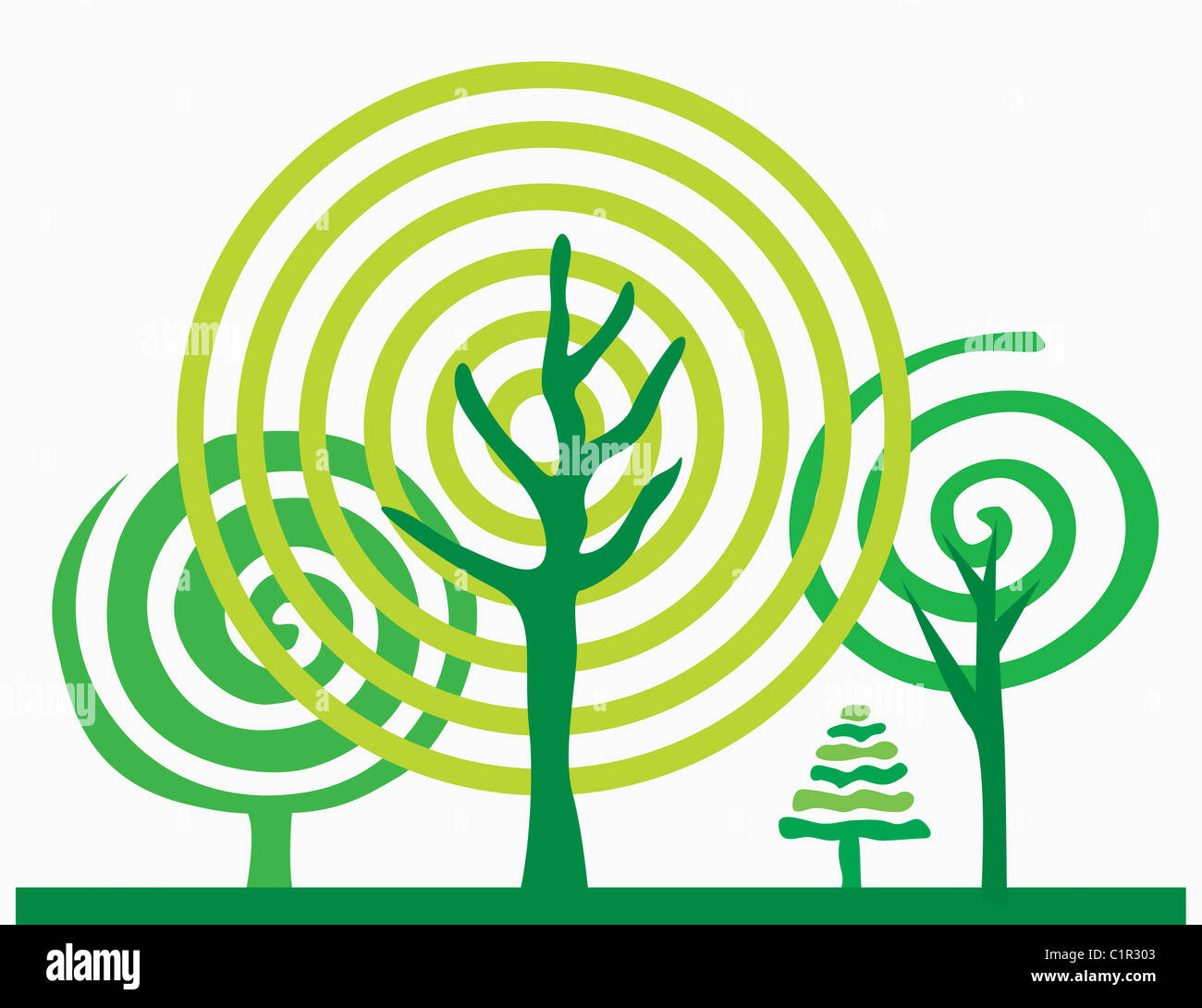 trees illustration - Stock Image