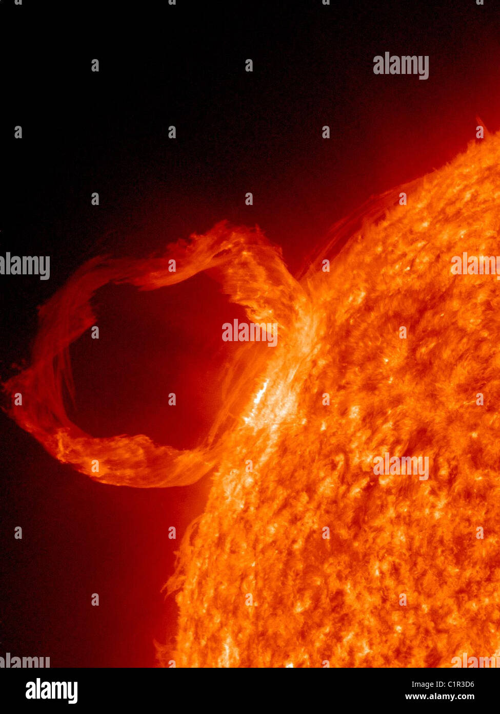 Solar Dynamics Observatory's Atmospheric Imaging Assembly (AIA) shows in great detail a solar prominence  eruption. - Stock Image