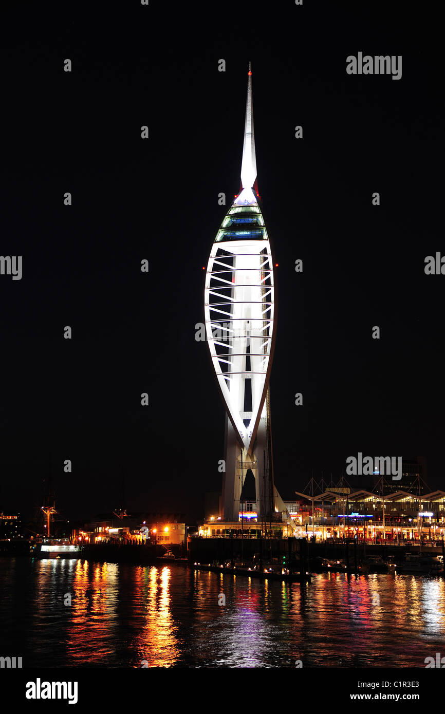 A white tower at night Stock Photo