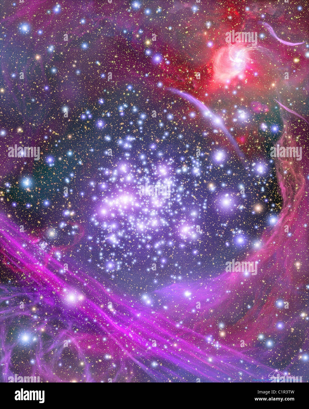 Milky Way This artist's impression shows how the Arches star cluster appears from deep inside the hub of our - Stock Image