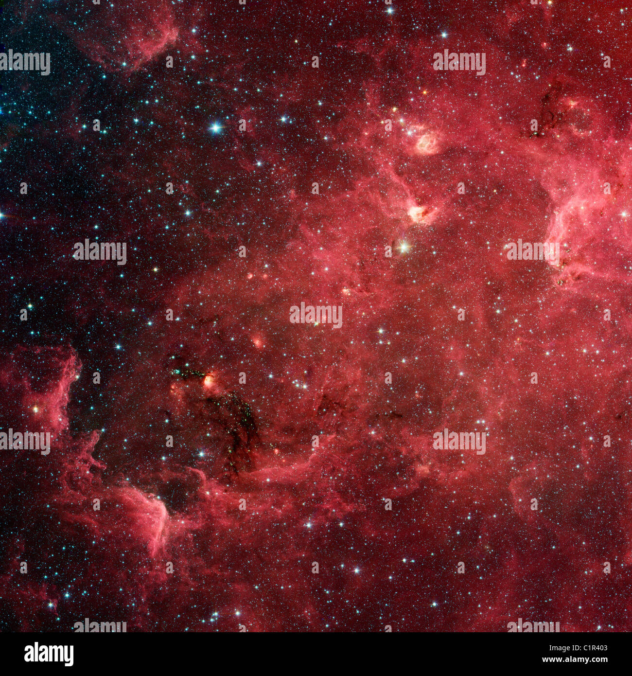swirling stars the North America Nebula. region resembles North America, new infrared view NASA's Spitzer Space - Stock Image