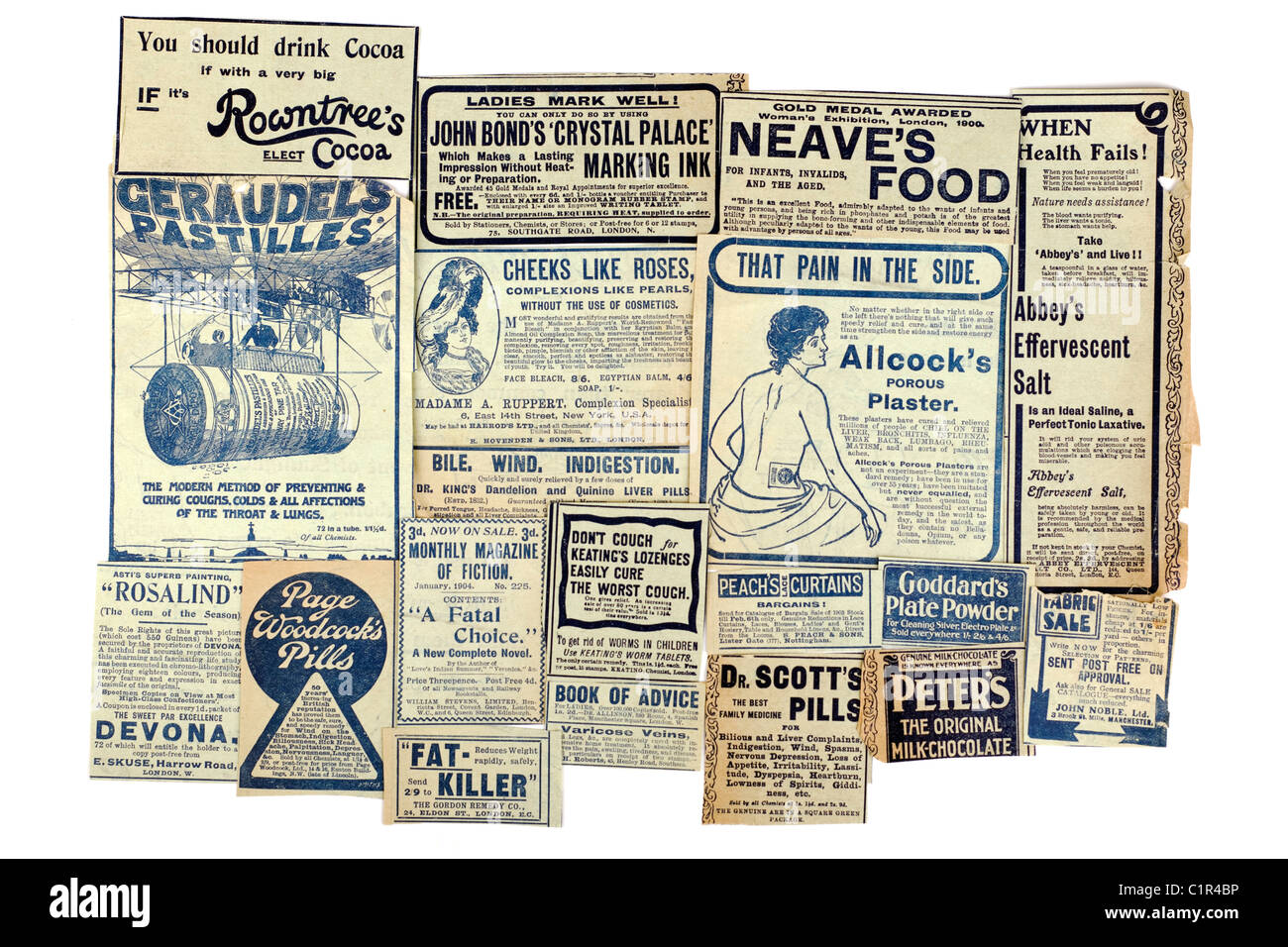 Selection of vintage drink health and remedy advertisements 'newspaper clippings' of 19 different products. - Stock Image