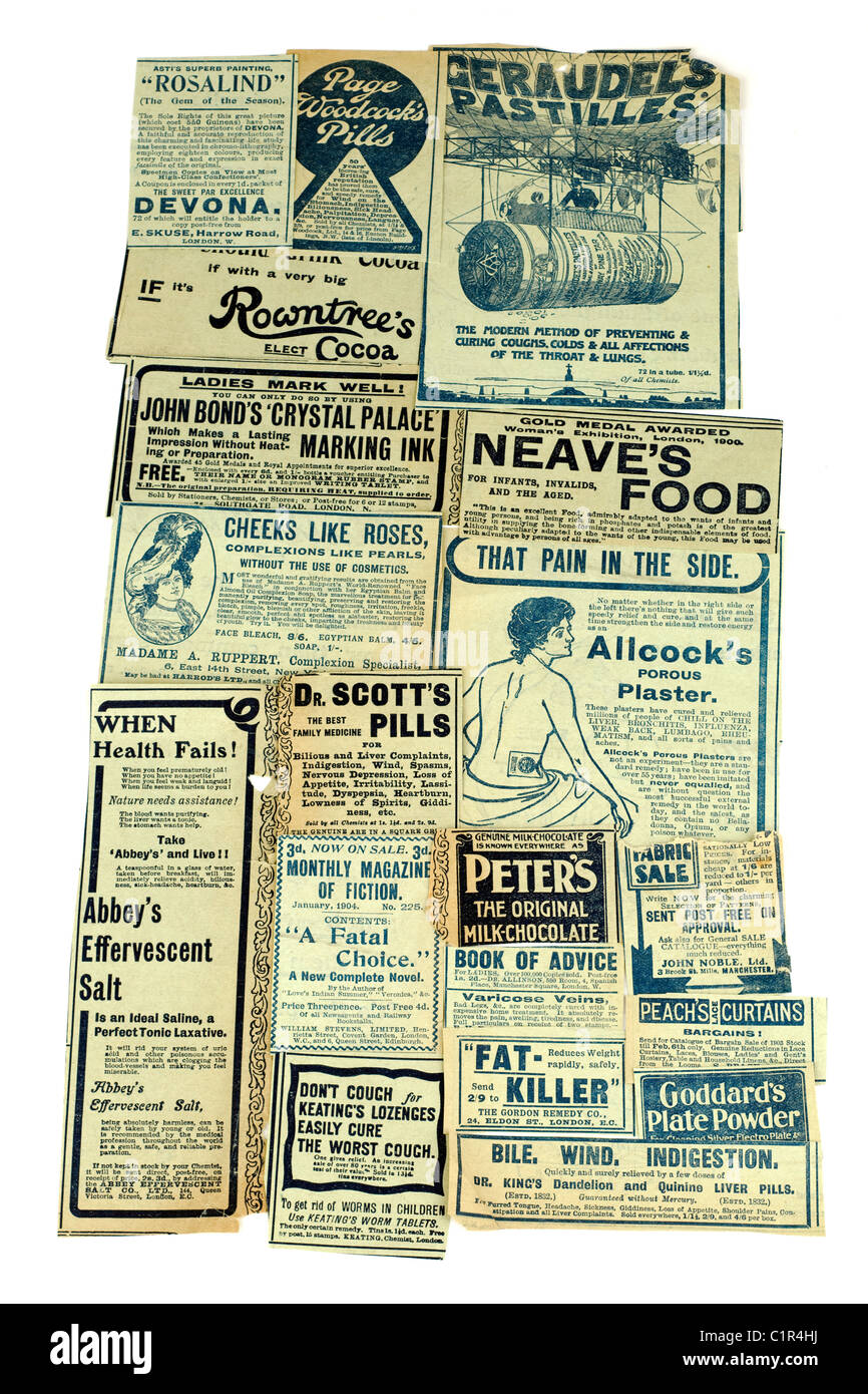 Selection of vintage drink health and remedy advertisements 'newspaper clippings' of  different products. - Stock Image