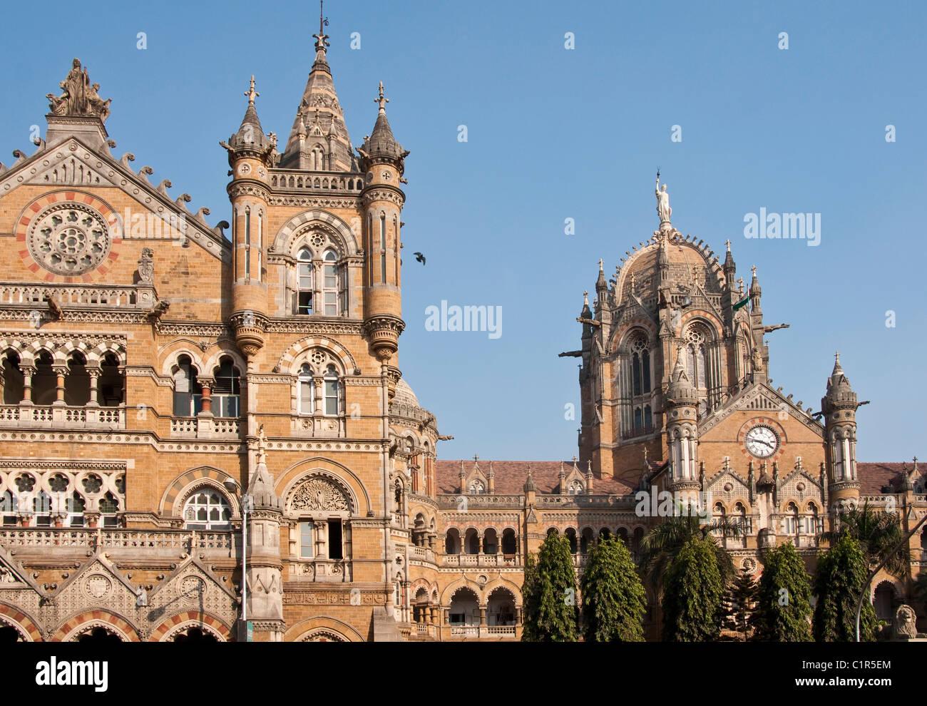 Chhatrapati Shivaji Terminus in Mumbai, formerly the Victoria Central Train Station - Stock Image