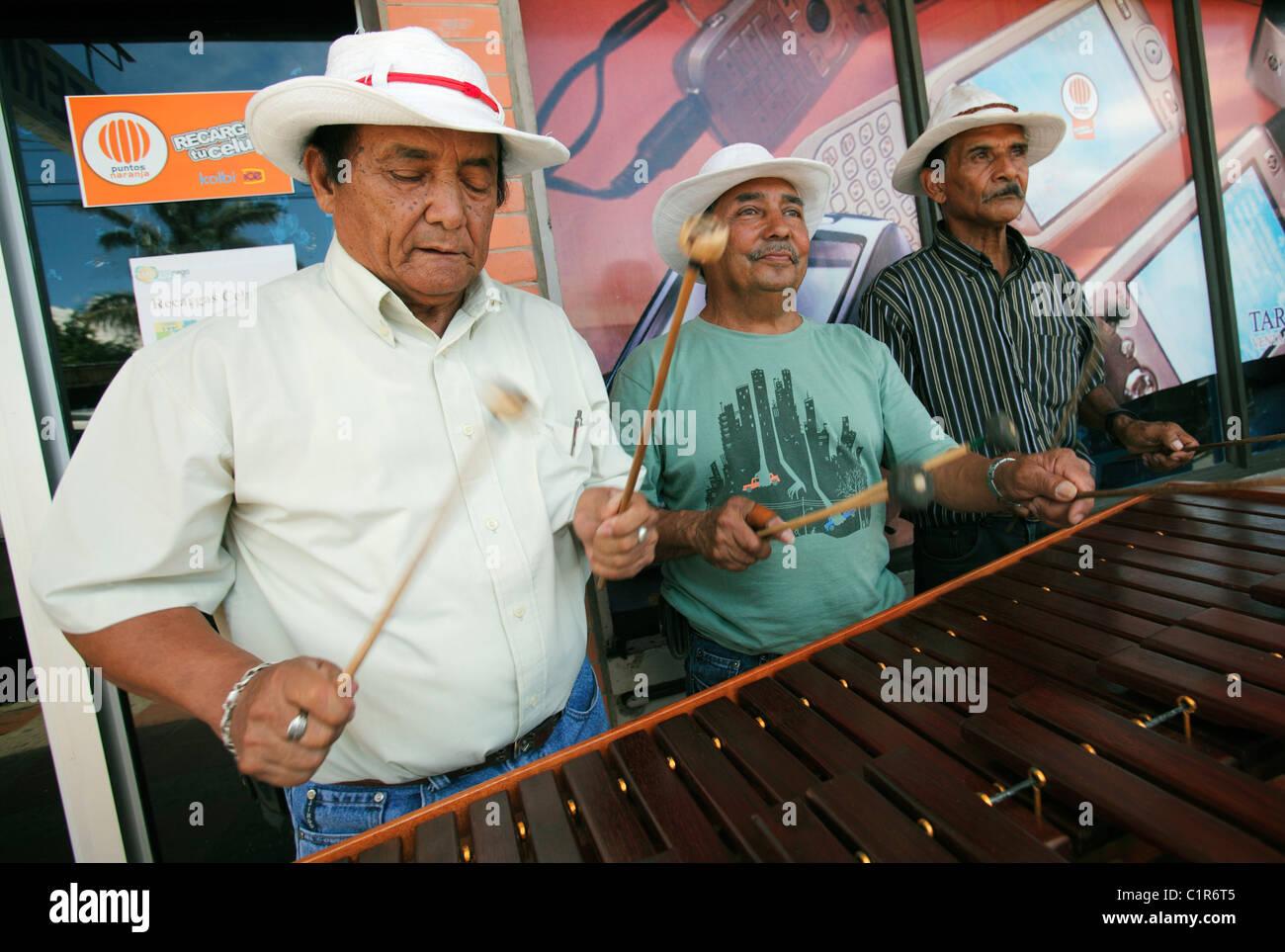 Marimba players, Liberia, Costa Rica - Stock Image