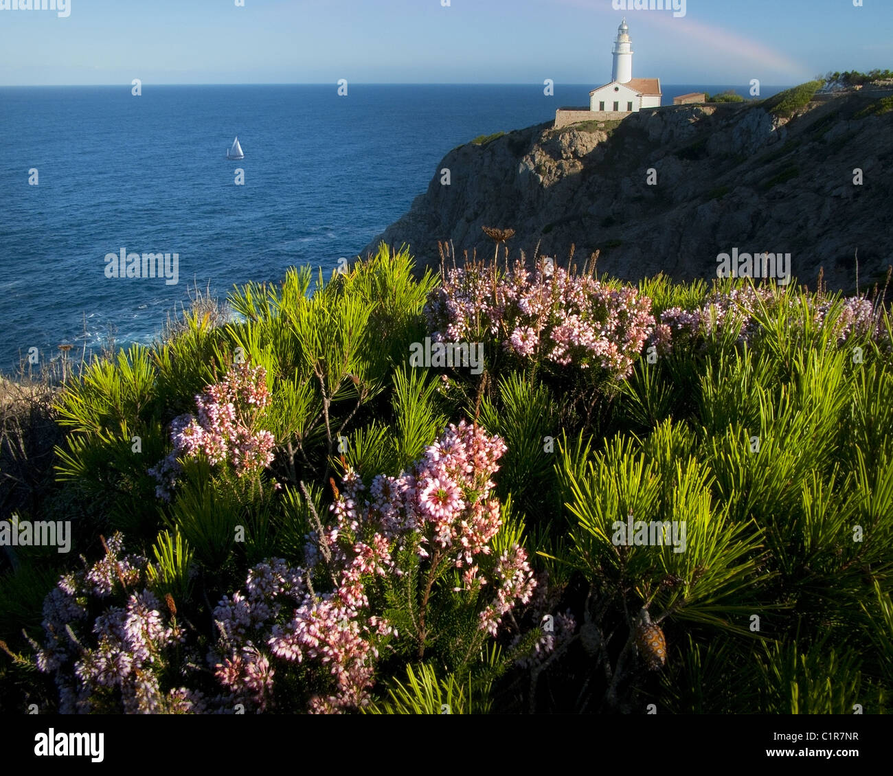 ES - MALLORCA: Lighthouse of Cala Ratjada at Punta de Capdepera - Stock Image