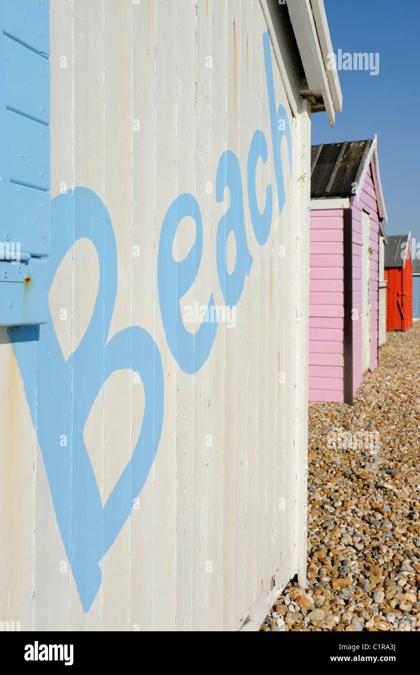 Holiday beach huts at Hayling Island, Hampshire, England - Stock Image