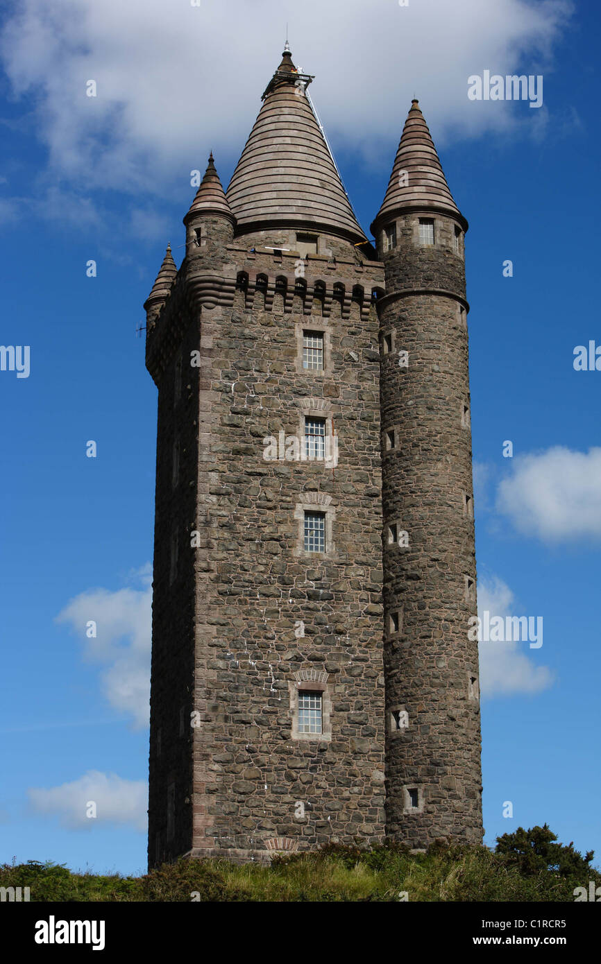 Scrabo Tower (Irish: Túr Scrabo) is located to the west of Newtownards in County Down, Northern Ireland. Stock Photo