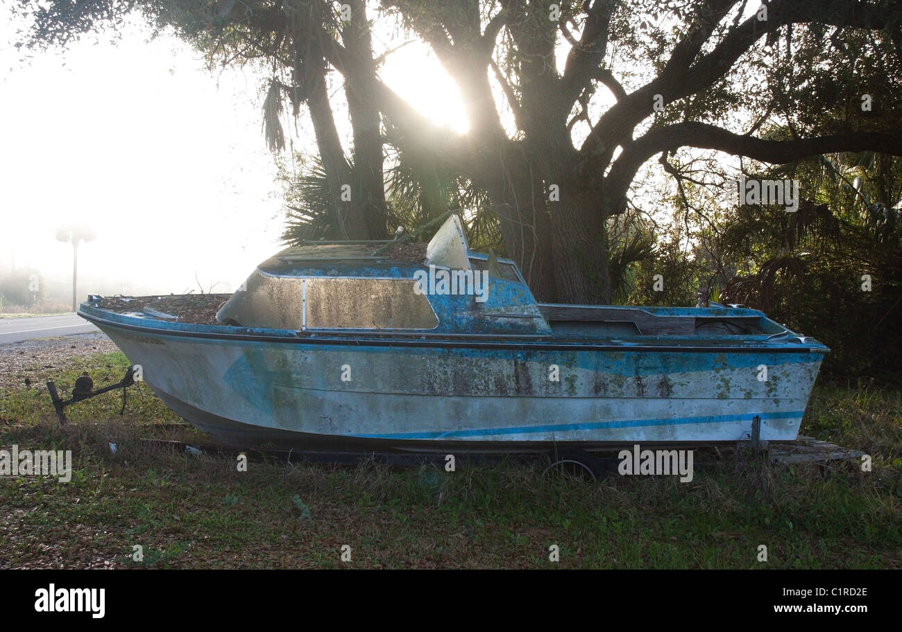 Old oyster boat for sale in Apalachicola, Florida - Stock Image