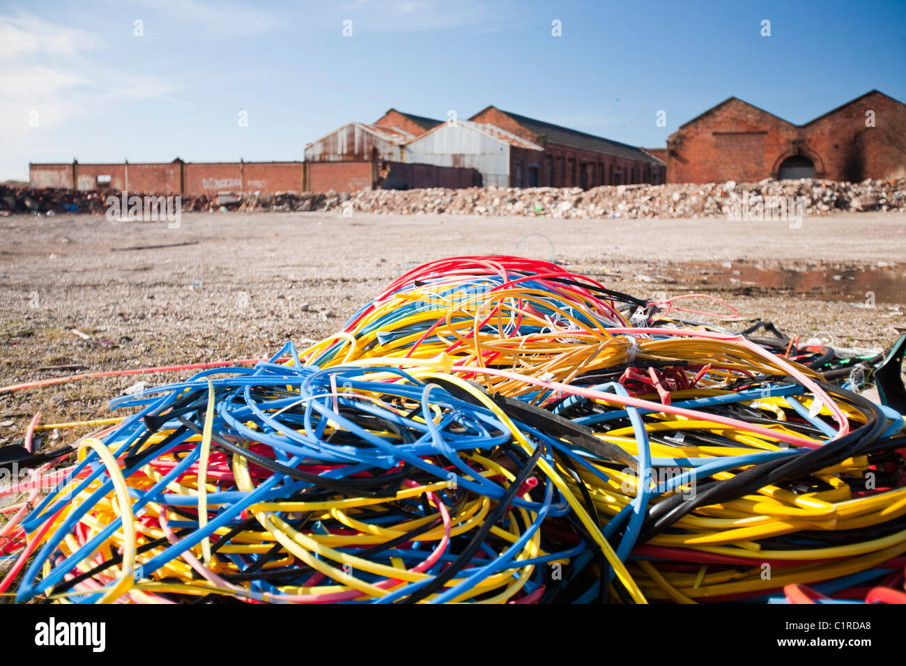 Copper Wire Stock Photos Images Alamy Scrap Harness Stripped By Thieves For Value On Waste Ground In Barrow Furness