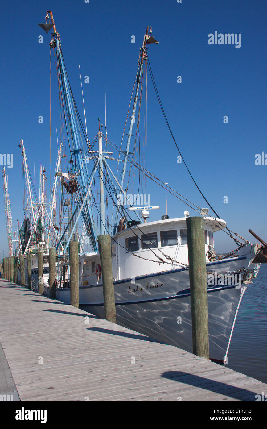 Commercial fishing boats at the dock in Apalachicola, Florida - Stock Image