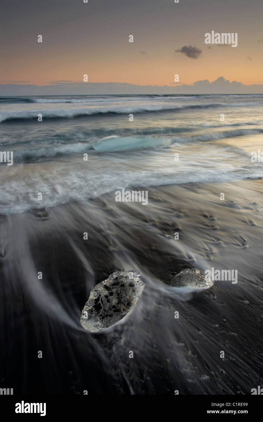 Icebergs on black beach with the tide washing around them in Iceland Stock Photo