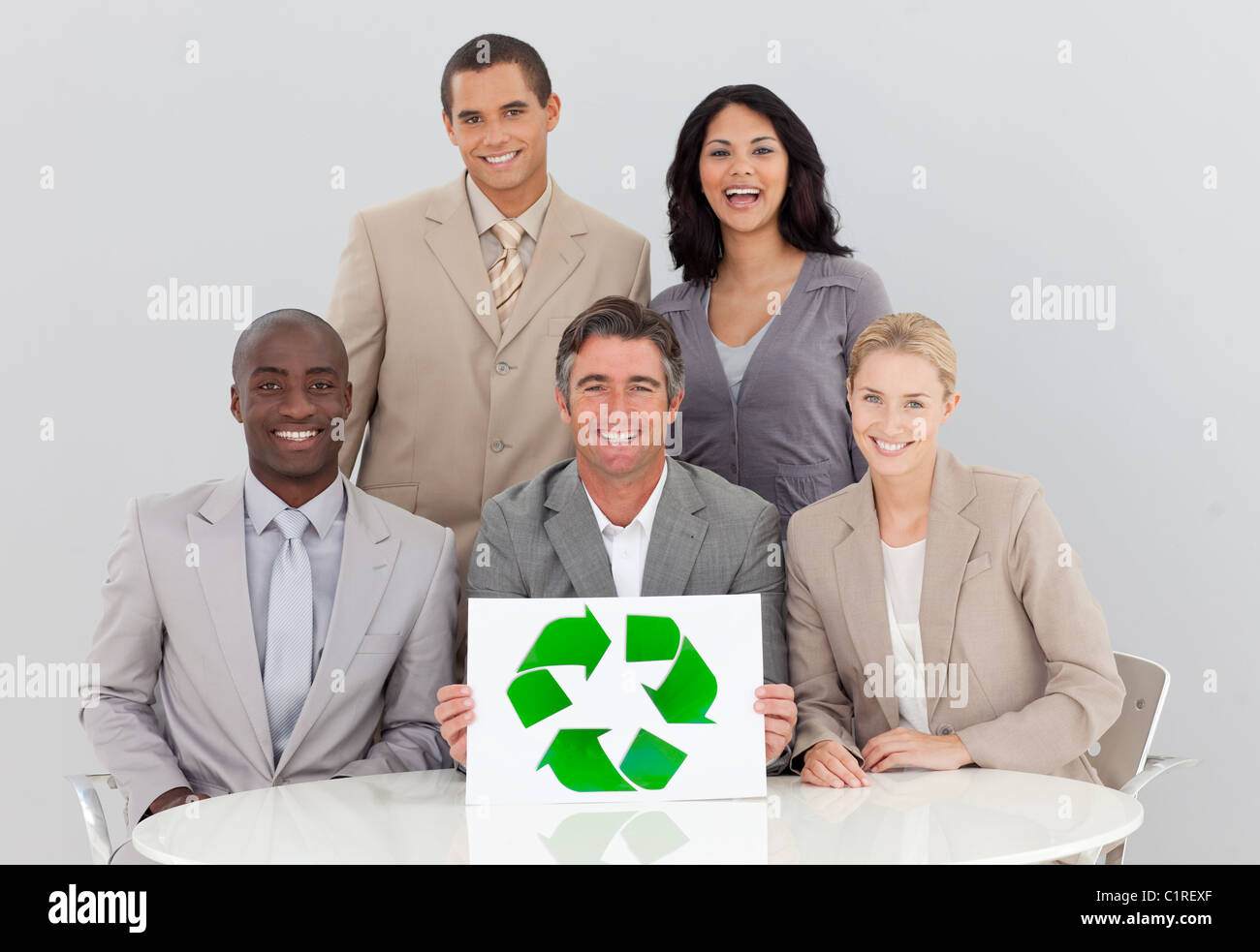 Good environmental practices in a meeting - Stock Image