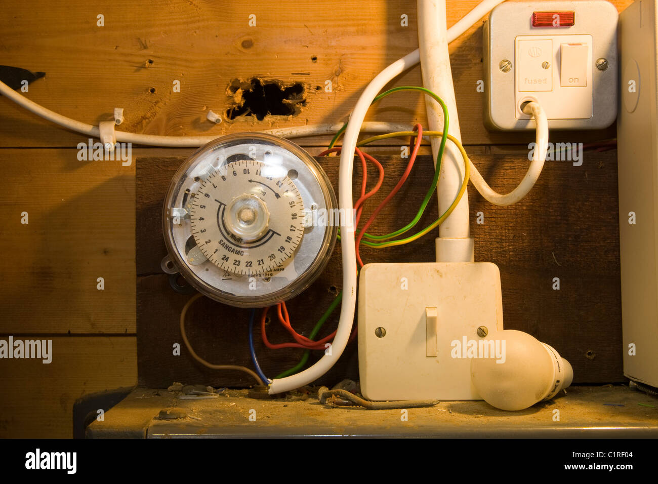 A Poor Electrical Installation Including Sangamo Timer And Switch Wiring Switches