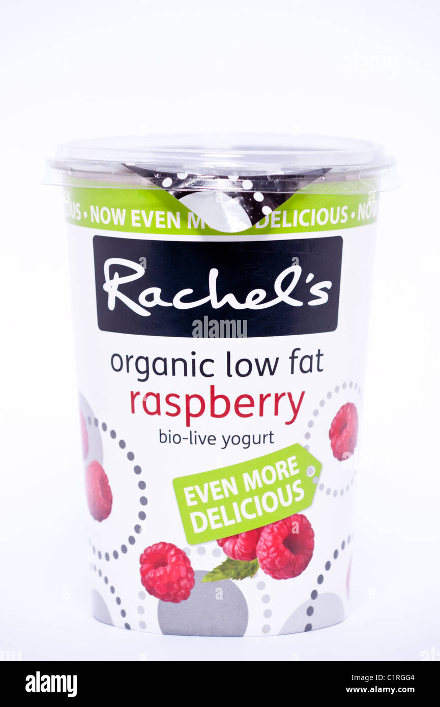 A pot of raspberry flavour Rachel's organic low fat bio-live yogurt on a white background - Stock Image