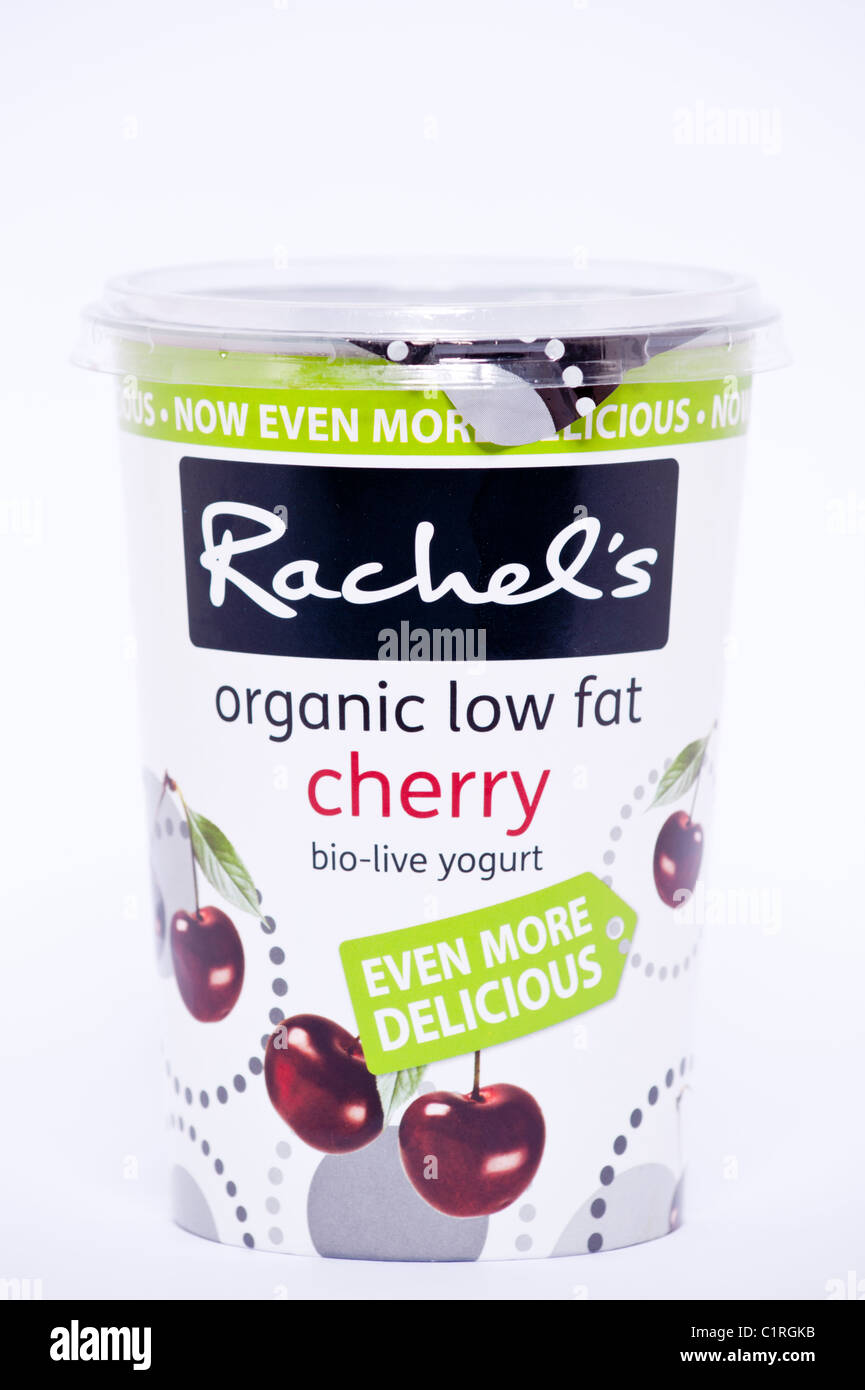A pot of cherry flavour Rachel's organic low fat bio-live yogurt on a white background - Stock Image