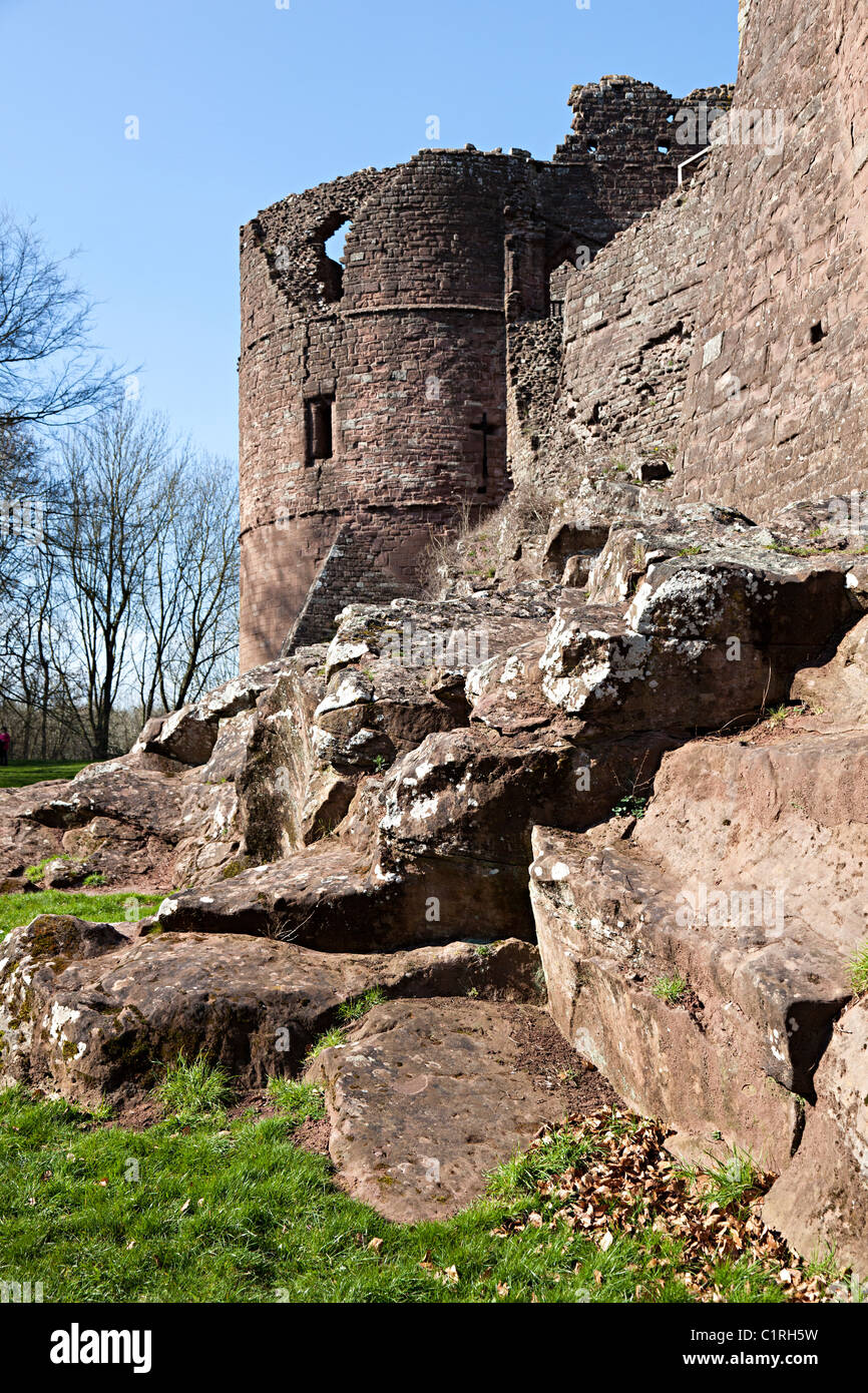 South-east tower and stone walls Goodrich Castle Herefordshire England UK - Stock Image