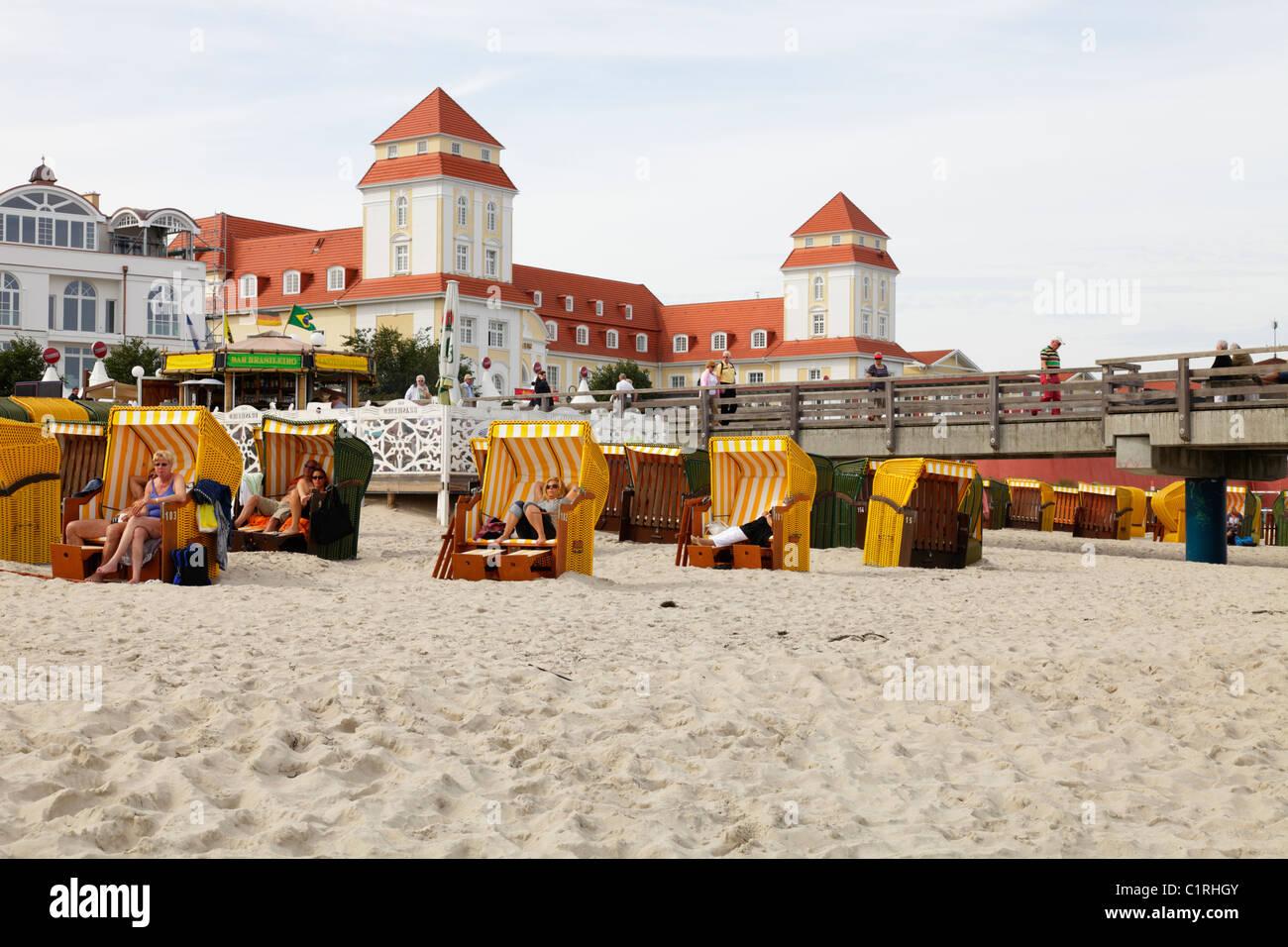 beach and spa hotel in Binz, Germany; Kurhaus und Strand in Binz, Insel Rügen Stock Photo