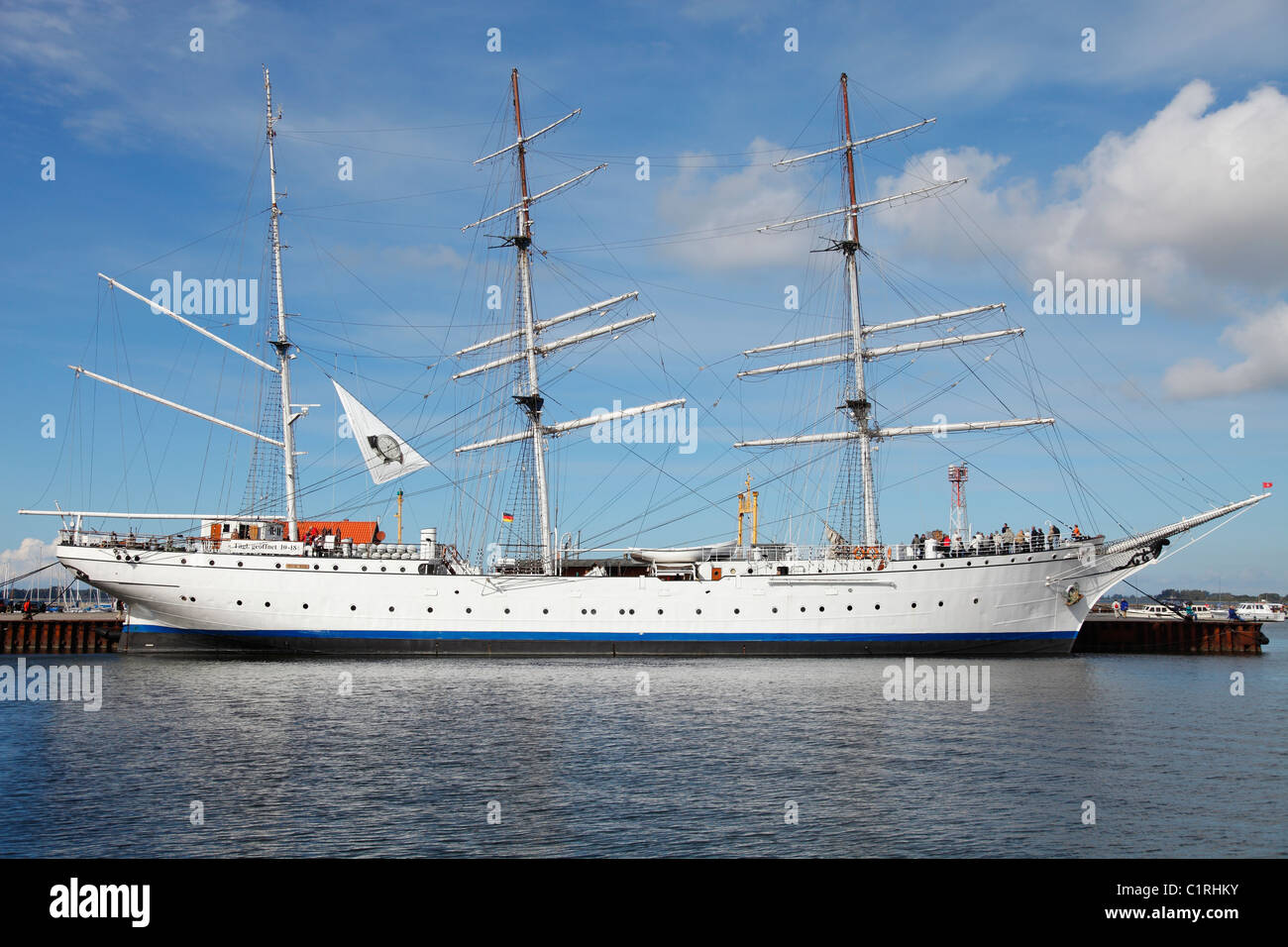 The Gorch Fock (1958) is a tall ship of the German Navy (Deutsche Marine) anchored in the harbour in Stralsund. - Stock Image
