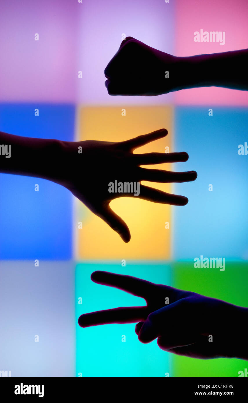 This photograph taken in a light sensory room designed to relax and entertain children and adults with learning Stock Photo