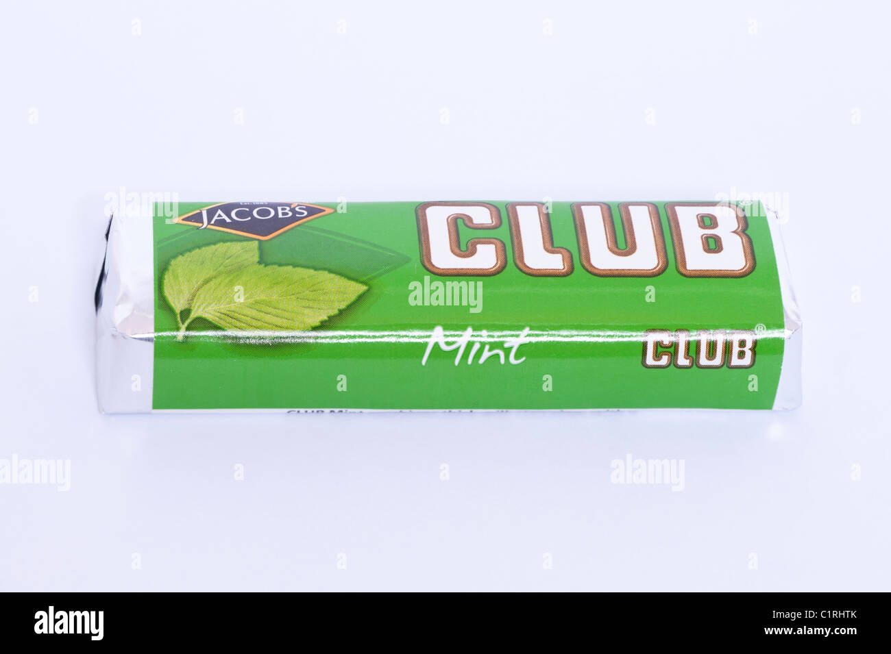 A mint chocolate flavoured Jacobs Club chocolate biscuit on a white background - Stock Image