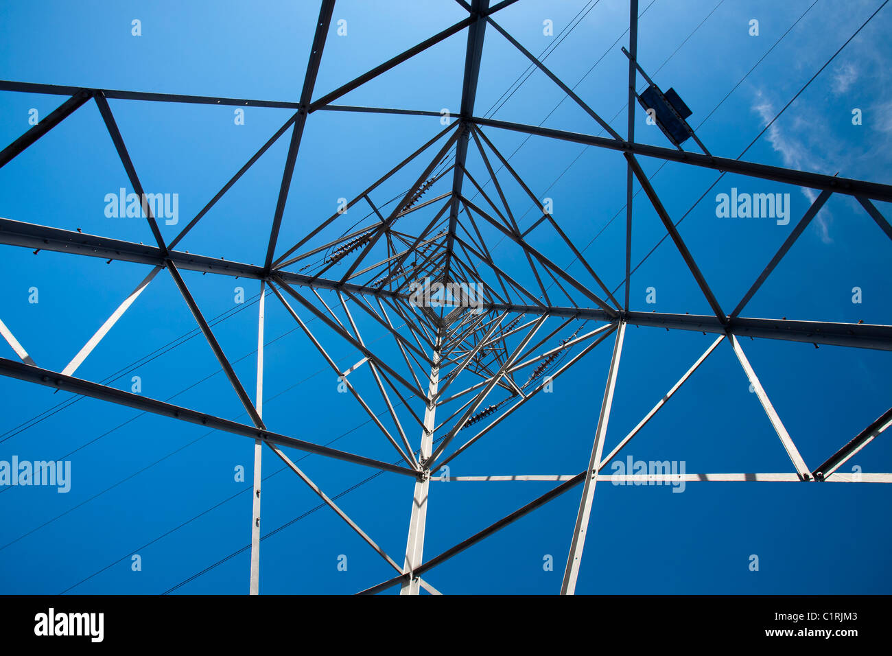 A power line pylon. - Stock Image