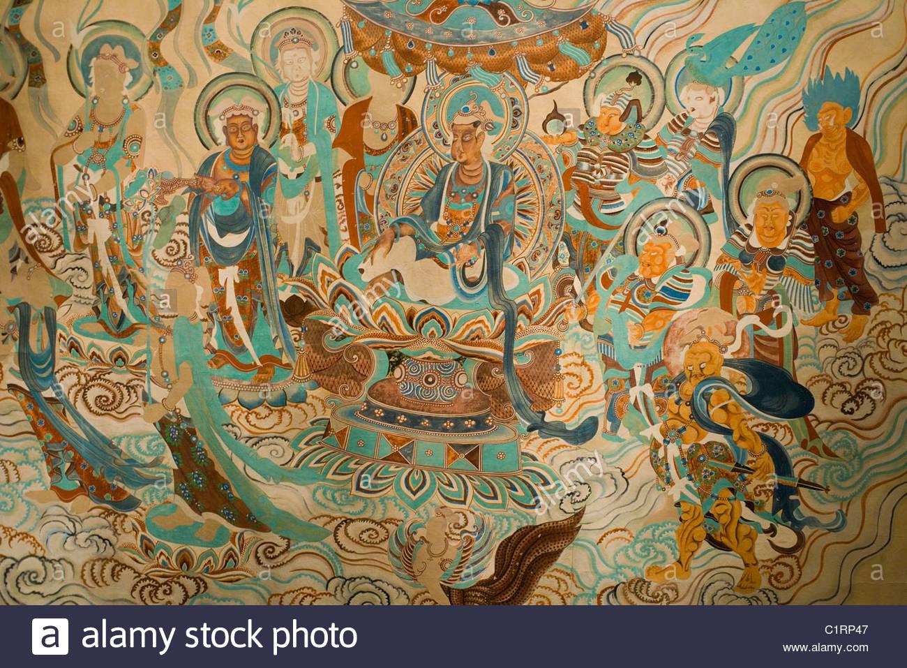 Mogao Grottoes, Dunhuang, Gansu Province, China - Stock Image