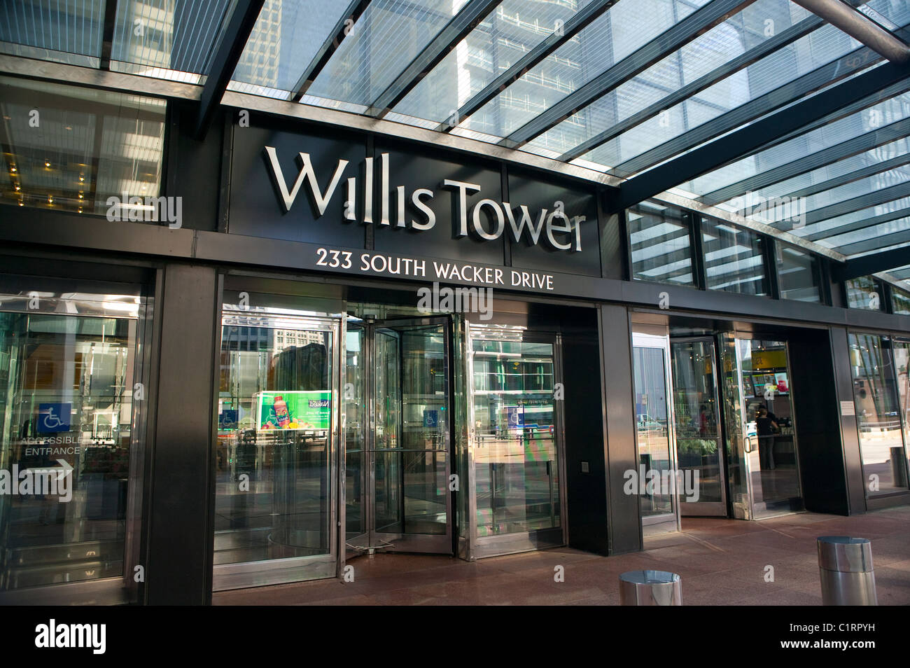 Front Entrance to The Willis Tower, Chicago - Stock Image