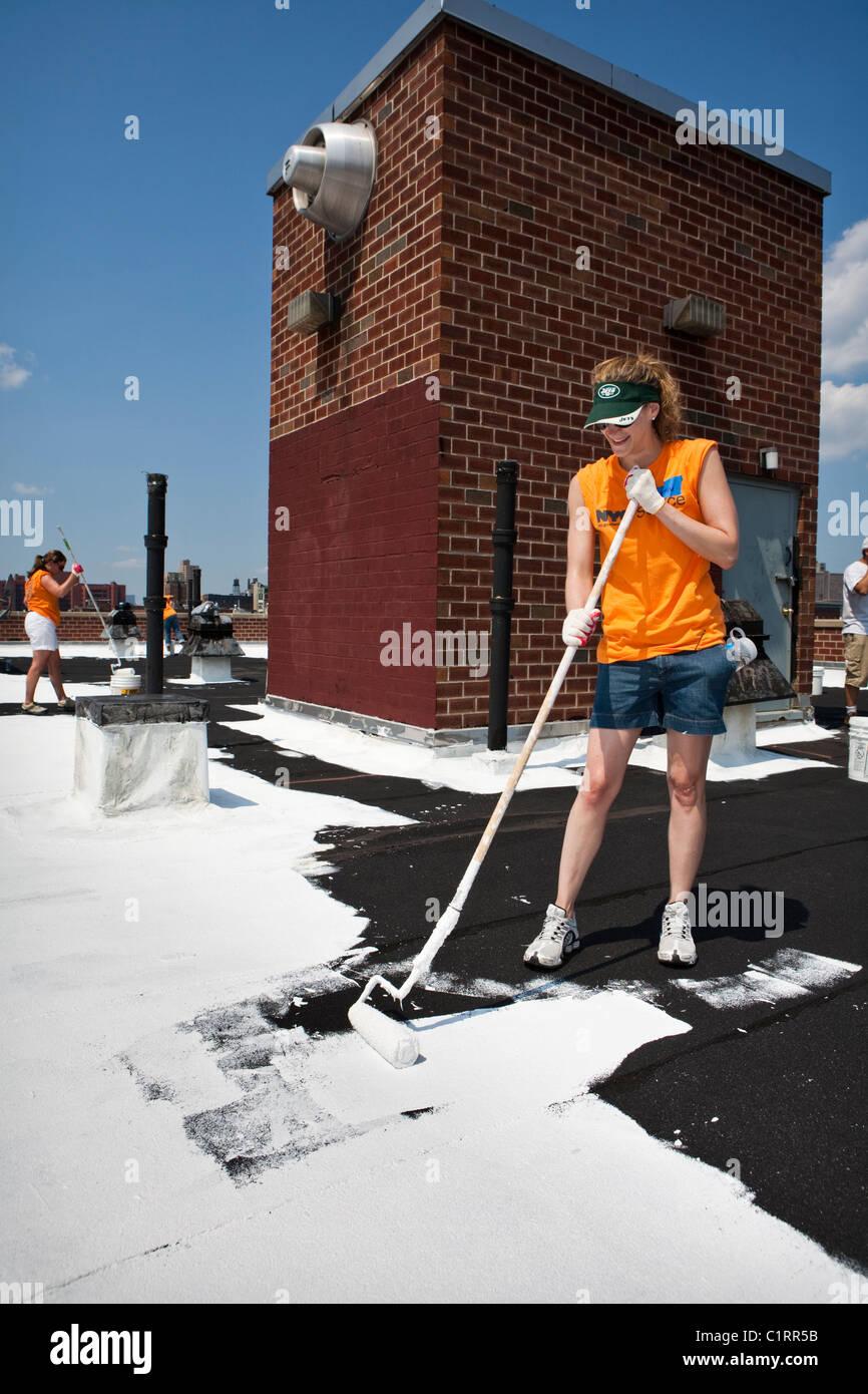 Solar City Coating Reduce Heat Roof Top Stock Photos & Solar