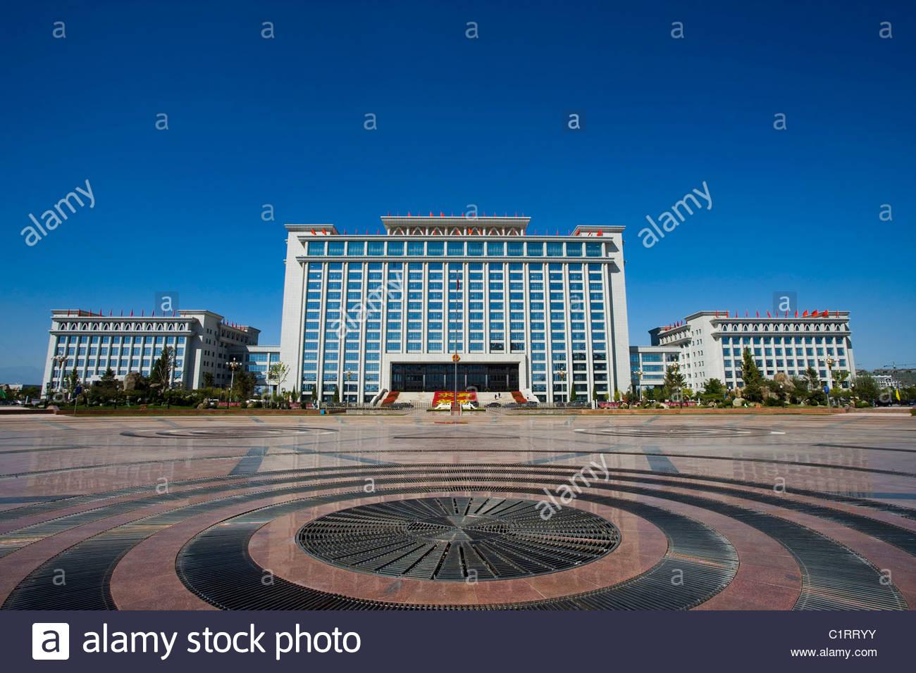 Peoples Square, Yinchuan, Ningxia Hui Autonomous Region, China Stock Photo
