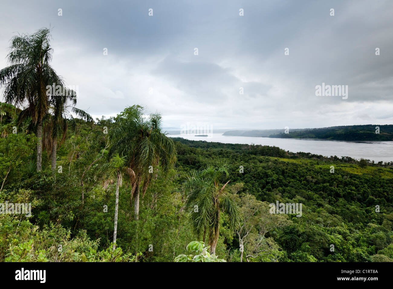 View of the Rio Parana from Teyu Cuare park in San Ignacio, Misiones, Argentina looking into Paraguay. - Stock Image